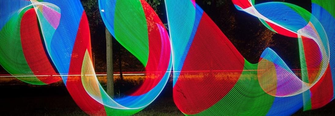a multicolored light painting shot via long exposure.