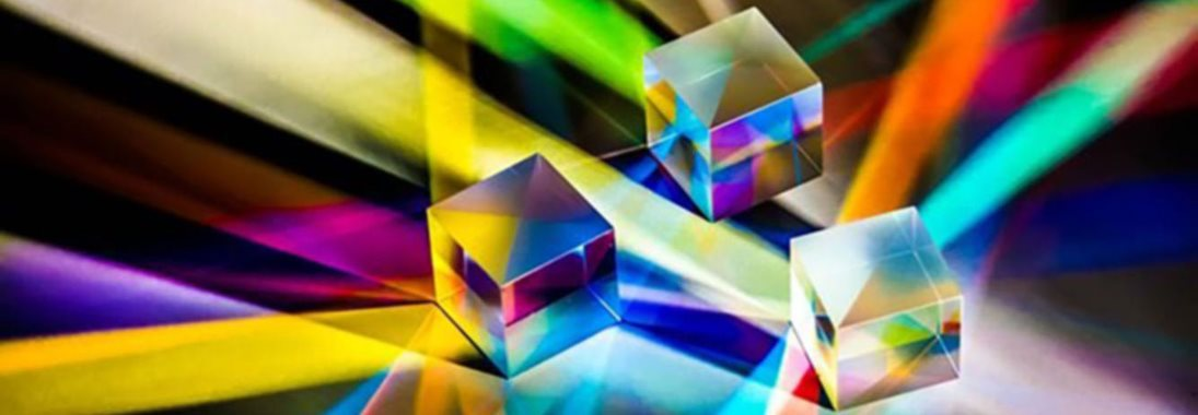 Prisms on a surface splitting light